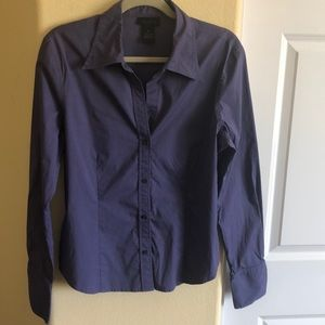 Express XL Dusty Purple Fitted Button Top
